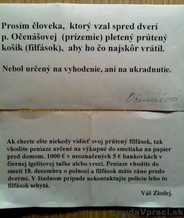 Filfások pani Očenášovej