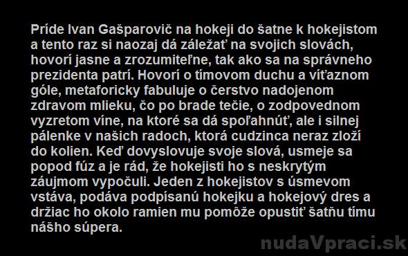 Ivan Gašparovič želá hokejistom úspechy
