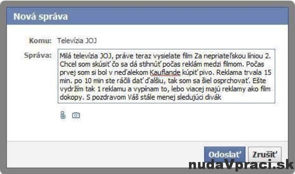 Správa na facebooku pre televíziu JOJ